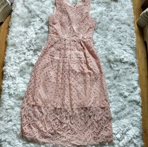 Veiisar pink lace sleeveless fit flare dress